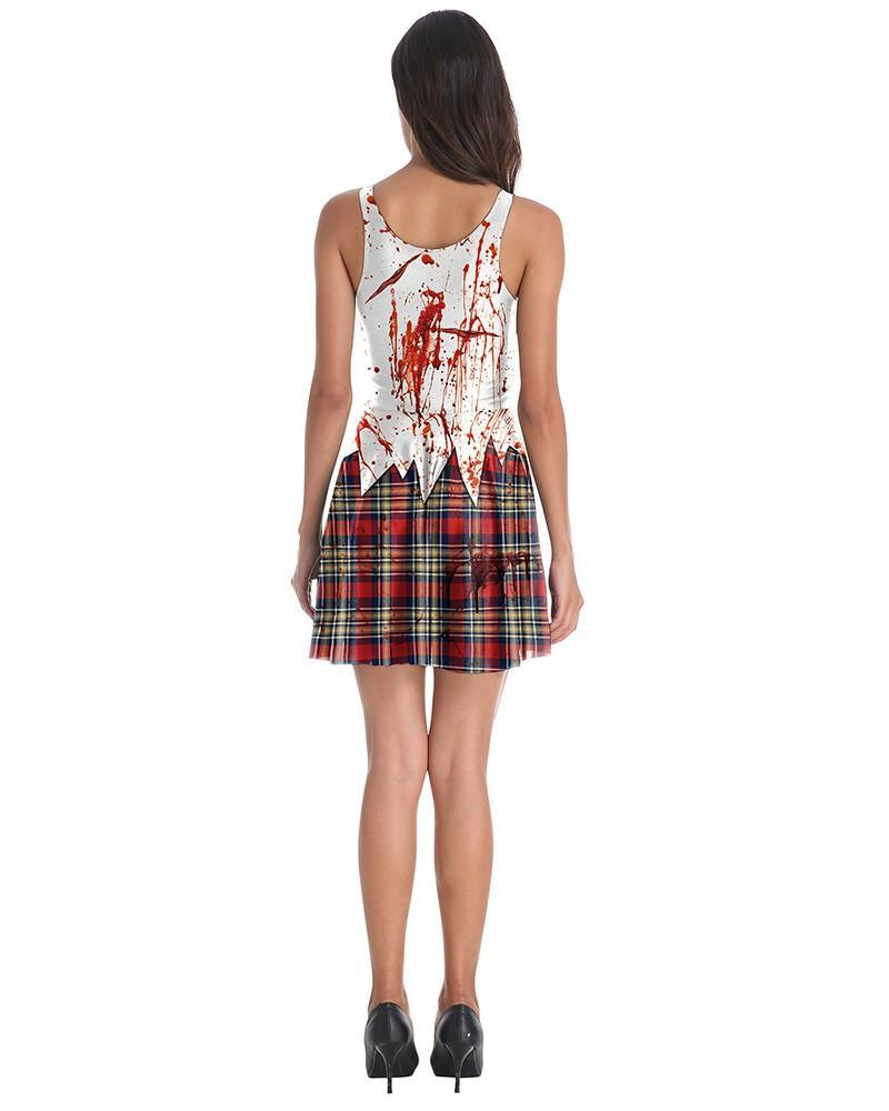 Bloody School Girl Costume Sleeveless Halloween Skater Vest Dress