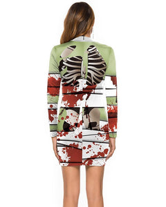Bloody Skeleton Mummy Bandage Mixed Print Halloween Long Sleeve Dress