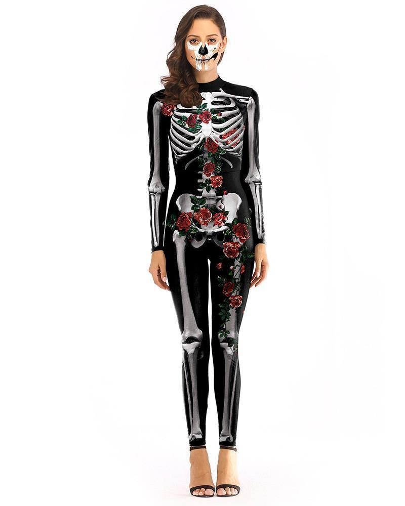 Black Rose Skeleton Catsuit Full Body Bodysuit Halloween Costume