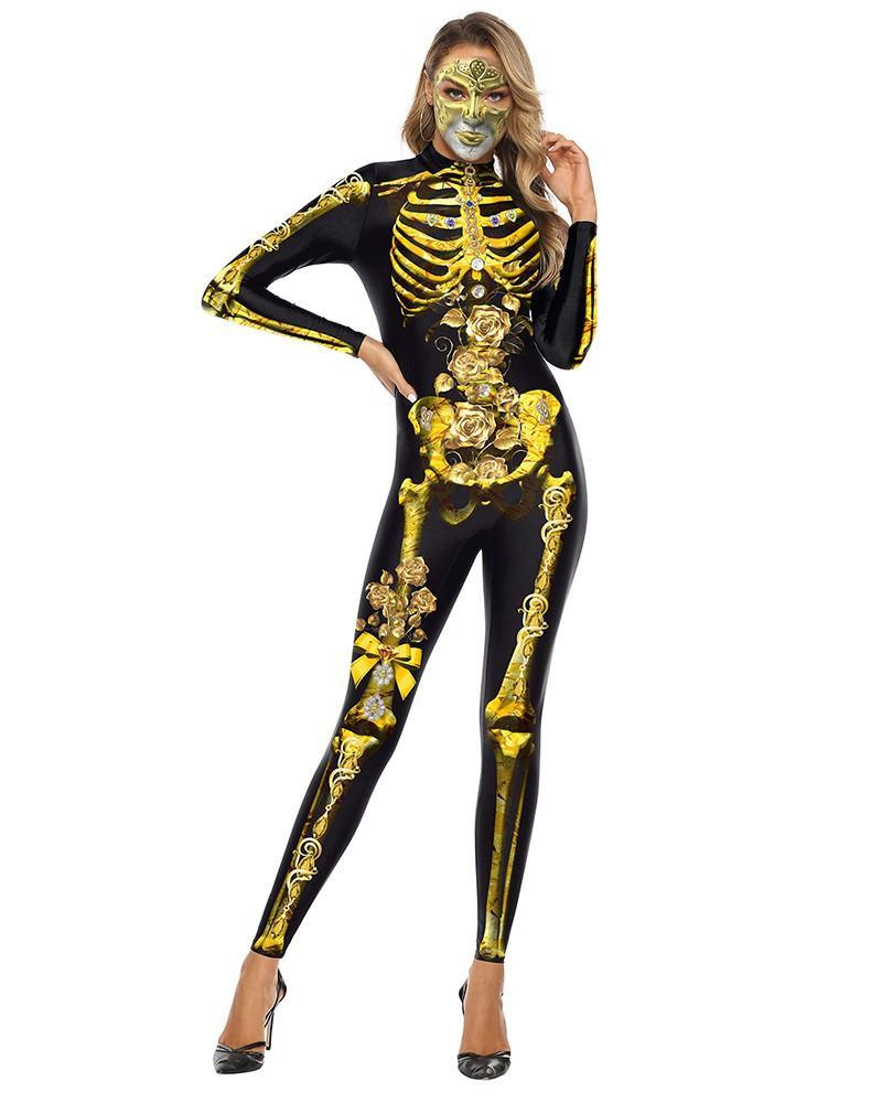 Gold Skeleton Catsuit Full Body Bodysuit Scary Halloween Costume