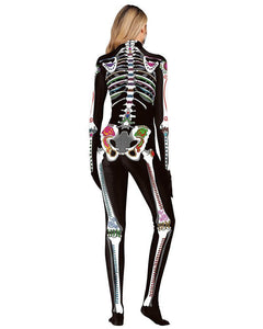 Artistic Skeleton Rose Long Catsuit Full Bodysuit Halloween Costume