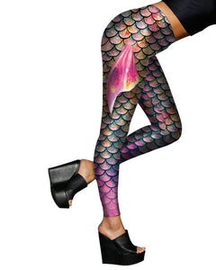 Mermaid Fish Scale With Fin Halloween Cosplay Leggings Purple Green
