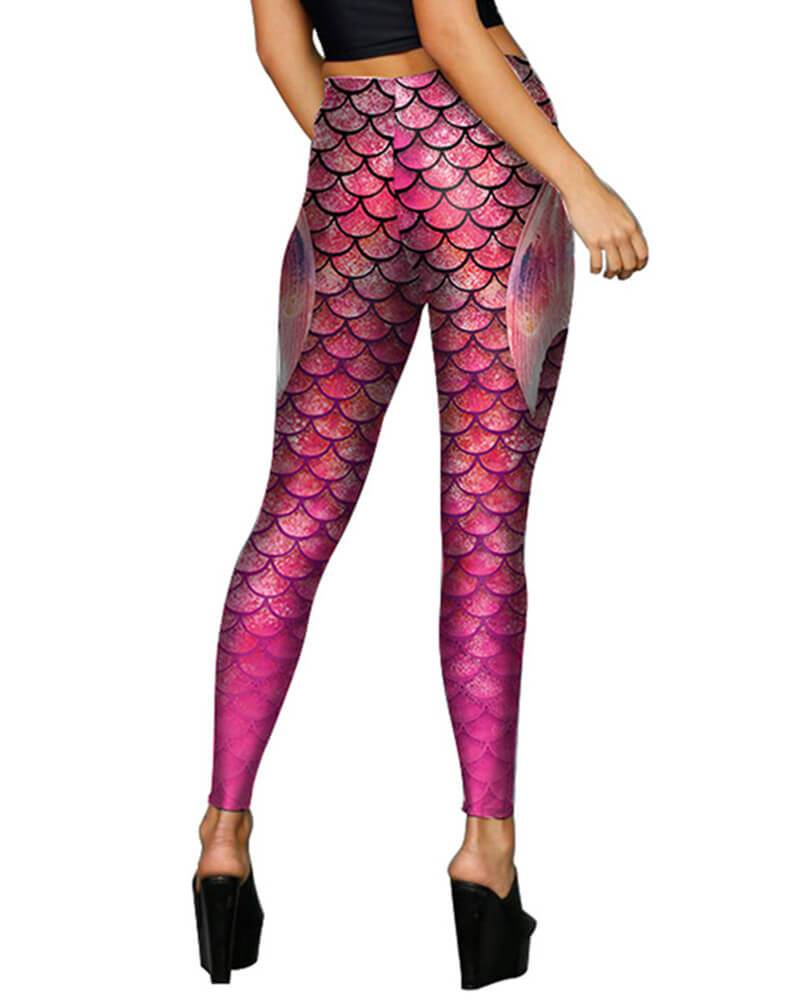 Fish Scale With Fin Printed Halloween Mermaid Leggings Purple Pink