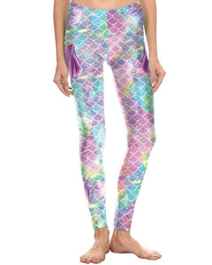 Shiny Purple Blue Mermaid Fish Scale With Fin Print Halloween Leggings