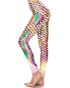 Gold White Fish Scale With Rainbow Fins Halloween Mermaid Leggings