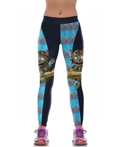 Horror Cats Printed Blue Black Halloween Active Running Leggings