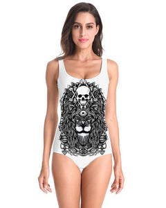 Lions Head Skull Print Scary Totem White One Piece Swimsuit Monokini