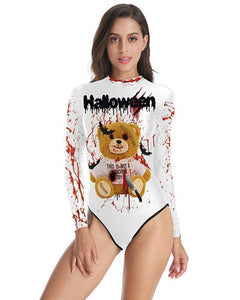 Scary Halloween Teddy Bear Moschino Toy Long Sleeve One Piece Swimsuit