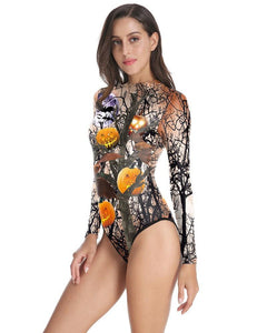 Halloween Pumpkin Dead Tree Long Sleeve One Piece Swimsuit Bodysuit
