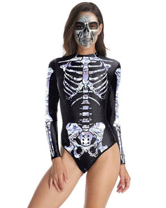 Diamond Skeleton Print Black One Piece Swimsuit Halloween Bodysuit