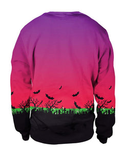 Scary Pumpkin And Bat Evil Halloween Night Couple Pullover Sweatshirt