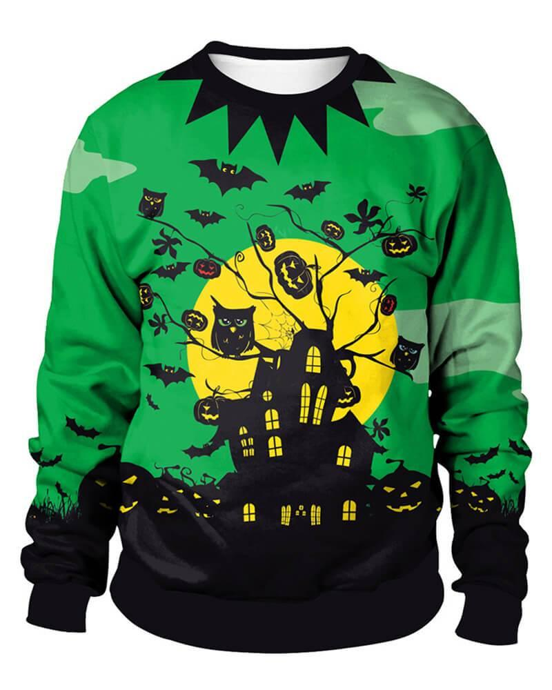 Scary Halloween Haunted House Pumpkin Bat Couple Pullover Sweatshirt