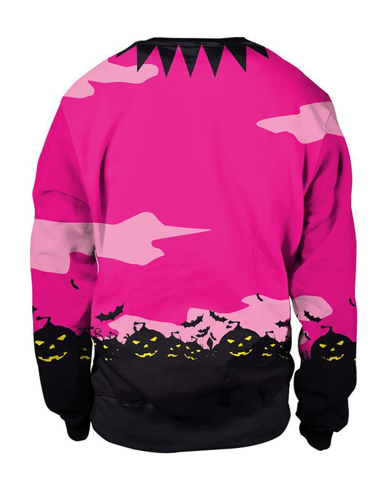 Rose Halloween Haunted House Pumpkin Bat Couple Pullover Sweatshirt ...