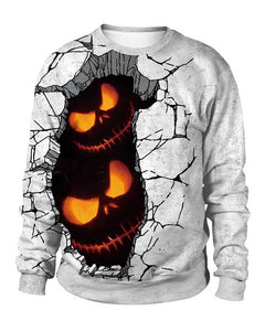 Meet Horror Pumpkin Light In Rift Ground Halloween Pullover Sweatshirt