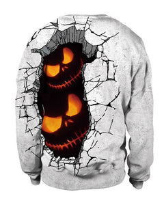 Meet Horror Pumpkin In Rift Ground Halloween White Pullover Sweatshirt