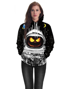 Black Horror Pumpkin Astronaut Scary Halloween Pocket Pullover Hoodie