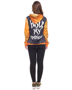 Black Orange Hold My Pumpkin Fancy Halloween Couple Pullover Hoodie