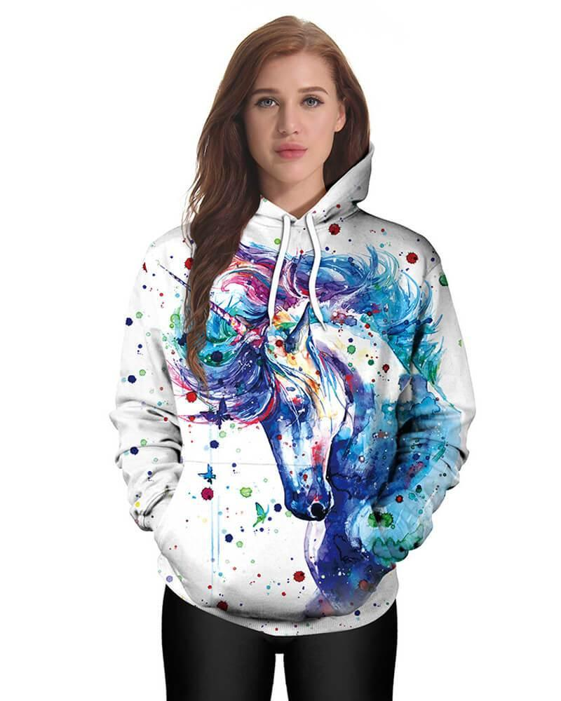 Fancy Halloween Rainbow Unicorn Print Pocket Couples Pullover Hoodie