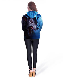 Atrocious Wolf Print Couples Blue Pullover Hoodie With Pocket