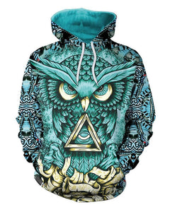Blue Owl Triangle Print Womens Fantasy Pullover Hoodie With Pocket