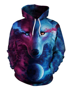 Horror Wolf In Blue Galaxy Womens Halloween Pocket Pullover Hoodie