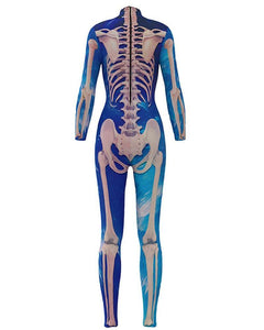 Blue Skeleton Print Bodysuit Womens Catsuit Scary Halloween Costume