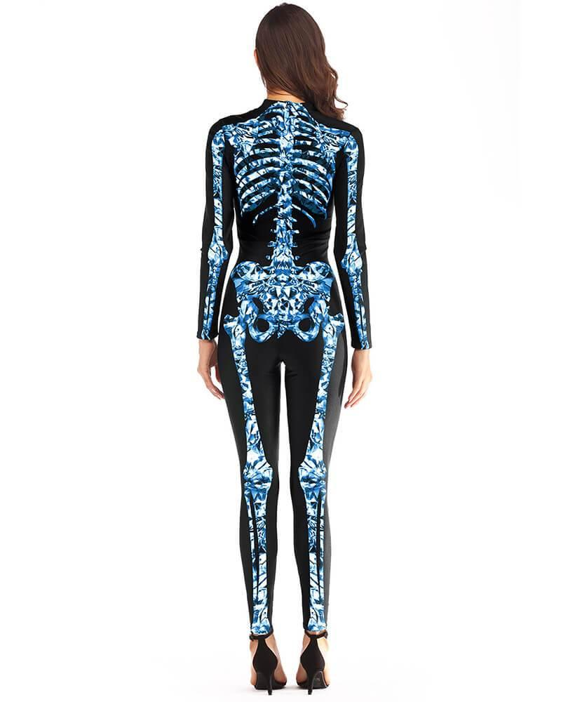 Blue Bright Diamond Skeleton Catsuit Adult Womens Halloween Costume
