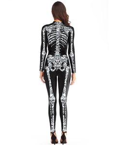 Black White Skeleton X-Ray Adult Scary Womens Halloween Costume