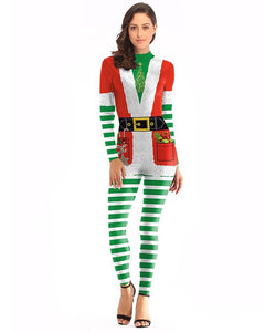 Christmas Elf Catsuit Womens Classic Tight Jumpsuit Cosplay Costume
