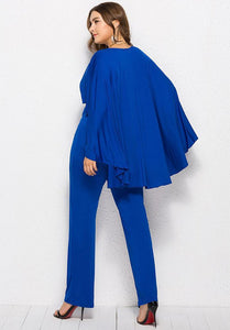 Blue Plunge Batwing Sleeves Wrap Party Cape Jumpsuit