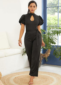 Black Cutout Tiered Flutter Sleeves Wide Leg Self Belt Jumpsuit