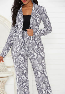 Grey Snakeskin Long Sleeve Going Out Office Lady Womens Blazer Suit