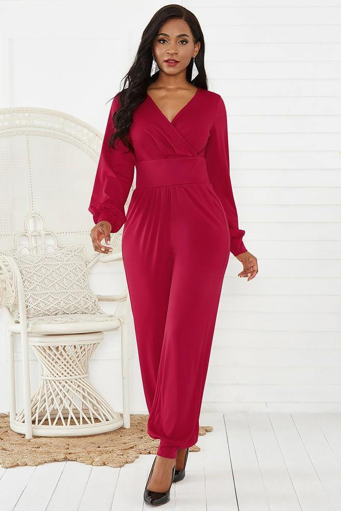 Red Wrap Top Long Puff Sleeve Wide Leg Ankle Elastic Party Jumpsuit