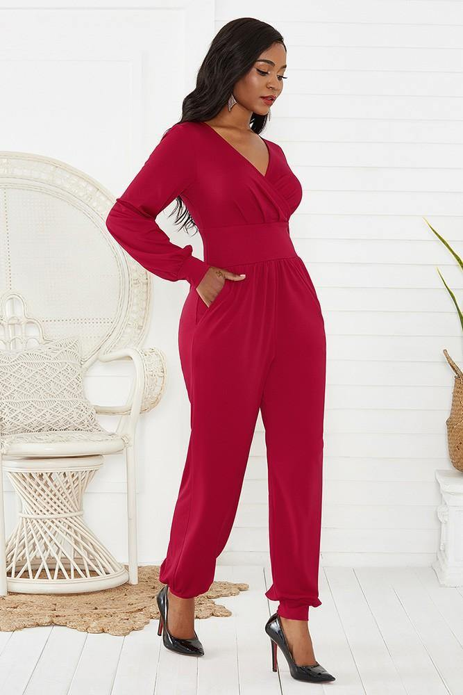 Red Wrap Top Long Puff Sleeve Wide Leg Ankle Elastic Party Jumpsuit - pinkfad
