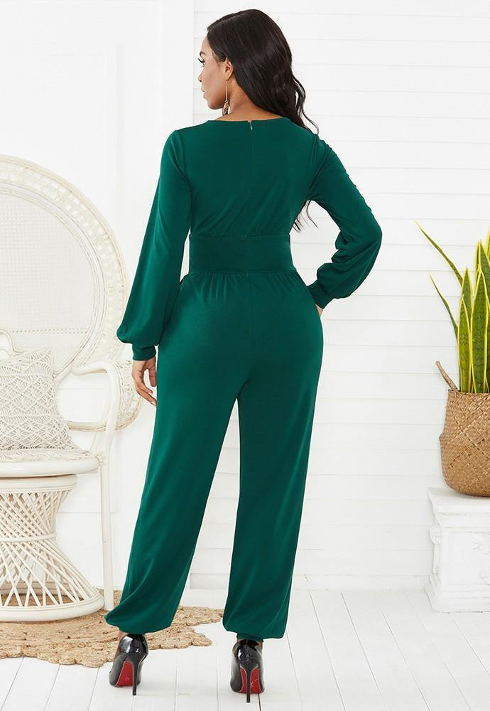Green Wrap Top Long Puff Sleeve Wide Leg Ankle Elastic Party Jumpsuit - pinkfad