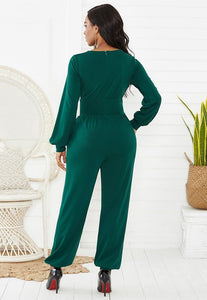 Green Wrap Top Long Puff Sleeve Wide Leg Ankle Elastic Party Jumpsuit