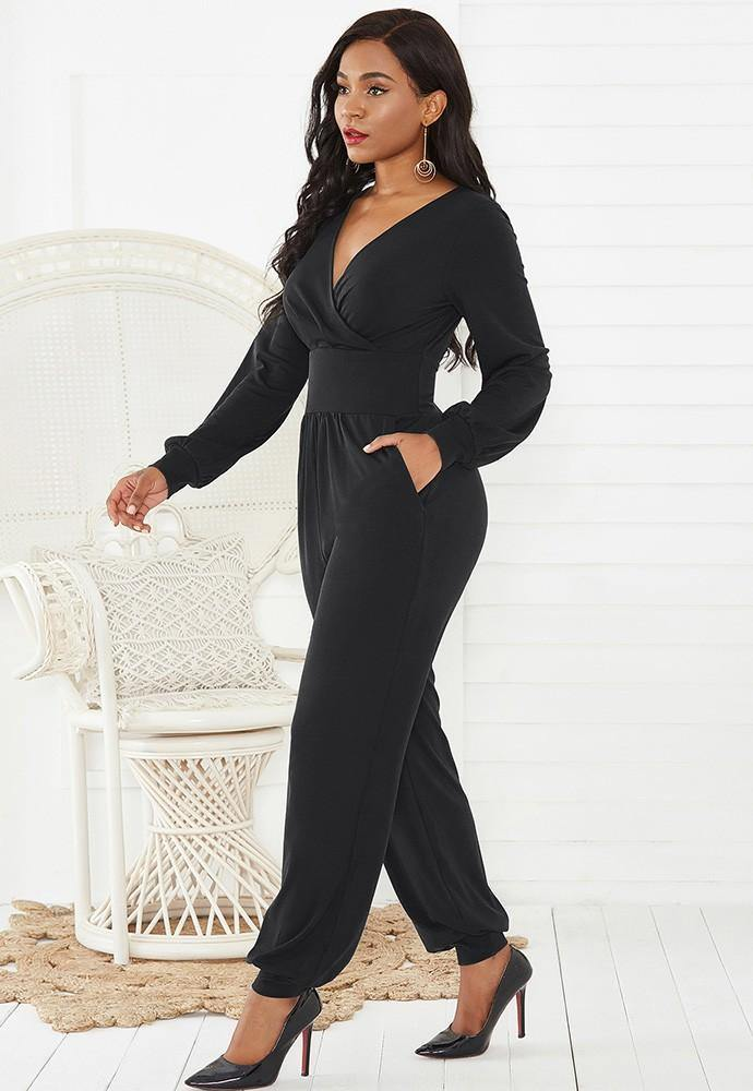 Black Wrap Top Long Puff Sleeve Wide Leg Ankle Elastic Party Jumpsuit