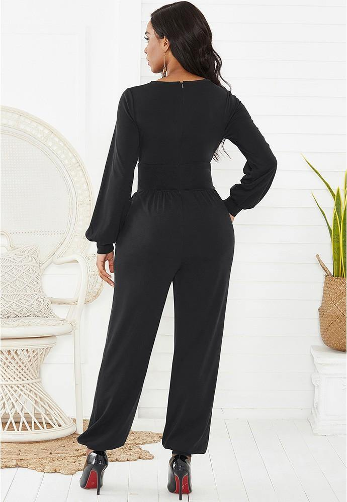 Black Wrap Top Long Puff Sleeve Wide Leg Ankle Elastic Party Jumpsuit - pinkfad