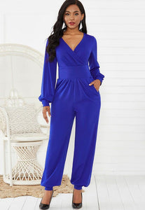Blue Wrap Front Long Puff Sleeve Wide Leg Ankle Elastic Party Jumpsuit