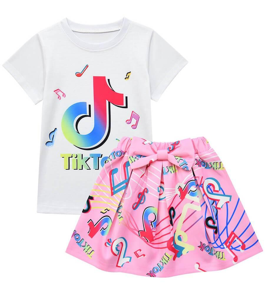 Girls Tik Tok Print T Shirt And Skirt With Bag Short Outfit 3 Sets