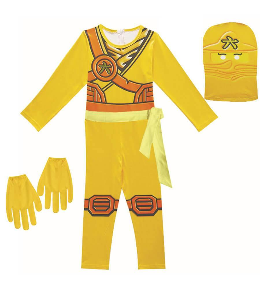Girls Boys Skylor Ninjago Gold Ninja Kids Cosplay Costume