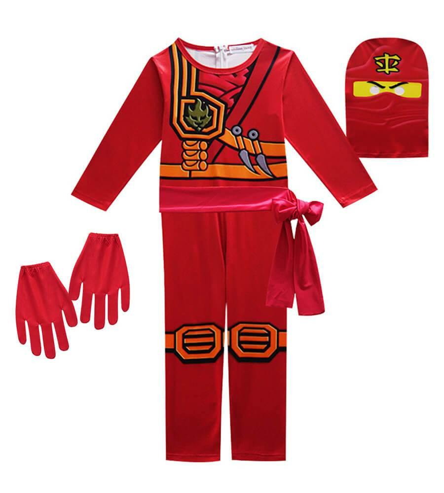 Girls Boys Skylor Ninjago Gold Ninja Kids Cosplay Costume - pinkfad