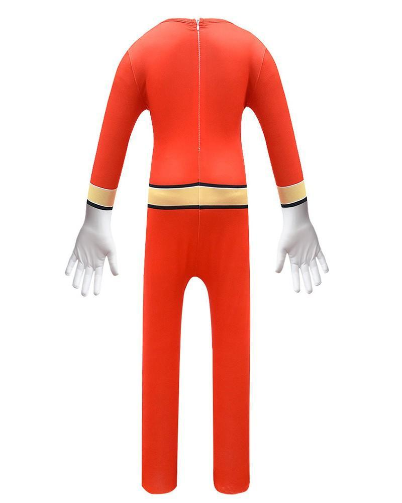 Boys Girls Red Wild Force Ranger Cole Cosplay Kids Halloween Costume