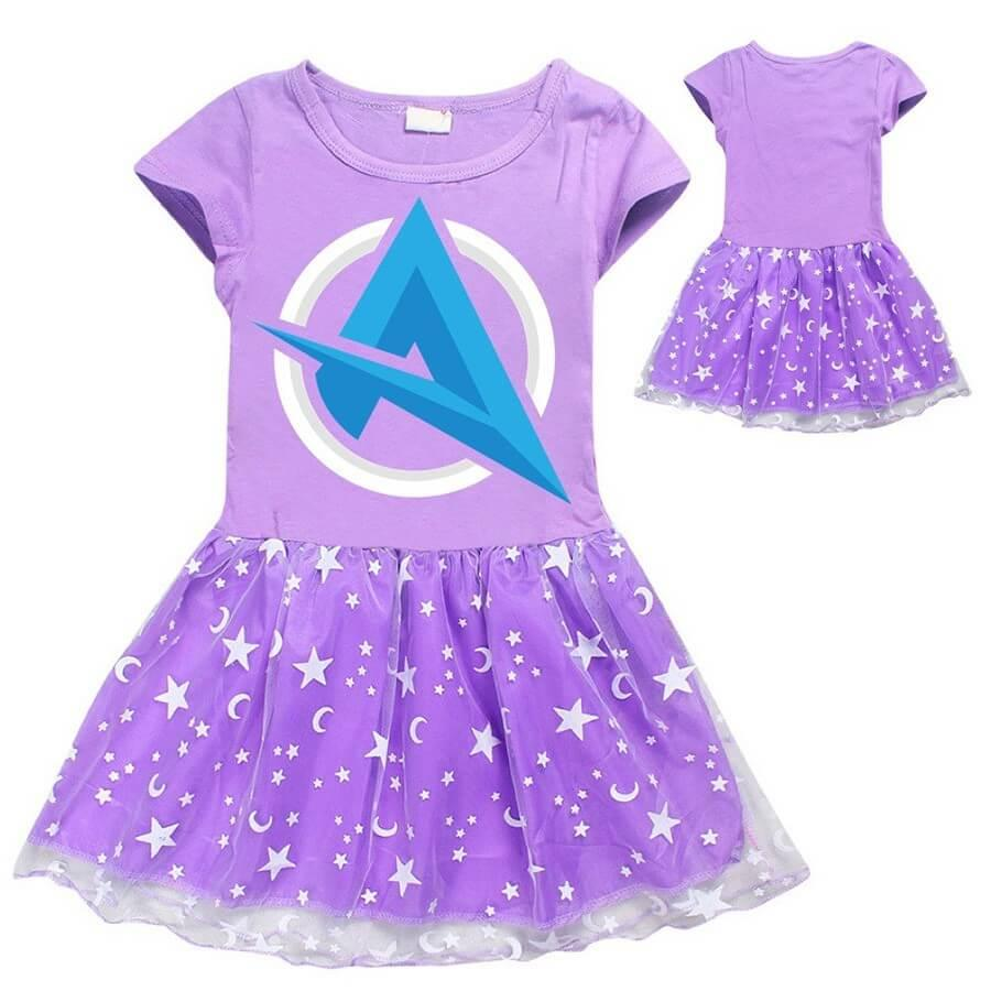 4-12 Years Girls Ali A Twitch Print Girls Short Sleeve Tulle Dress