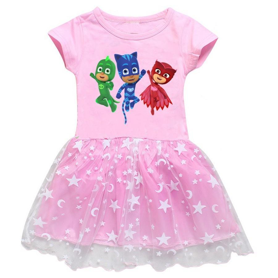 Pj Pajama Kid Hero Catboy Owlette Gekko Print Girls Cotton Tulle Dress