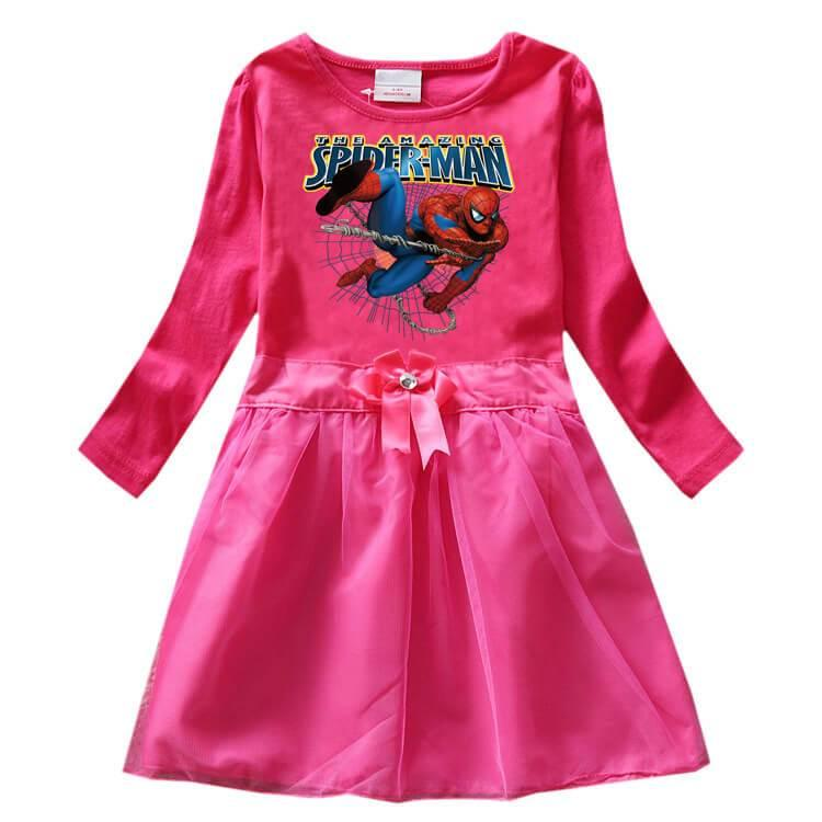 Girls The Amazing Spider-Man Print Long Sleeve Cotton Bow Tulle Dress