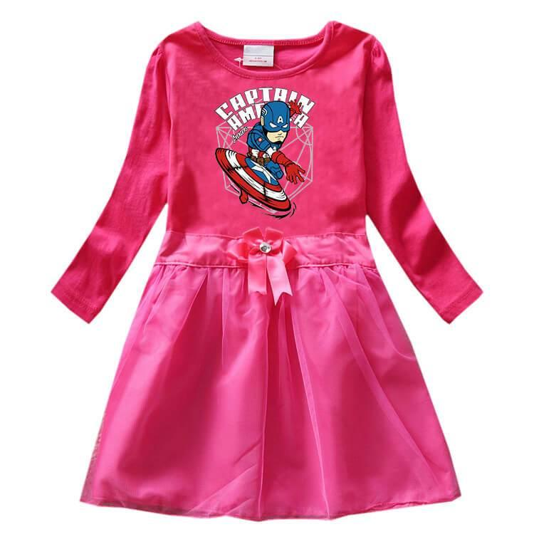 Girls Captain America Printed Cotton Long Sleeve Bow Tulle Dress