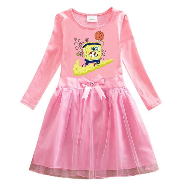Girls SpongeBob Squarepants Print Long Sleeve Bow Cotton Tulle Dress
