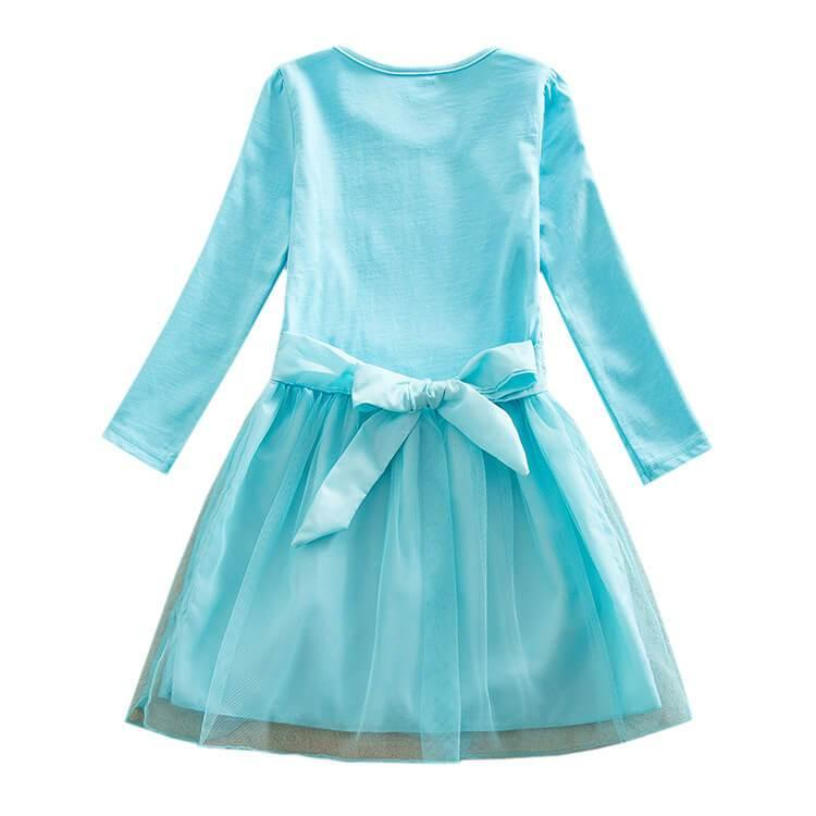 Girls Marshmallow Dj Printed Long Sleeve Tulle Cotton Dress Multicolor