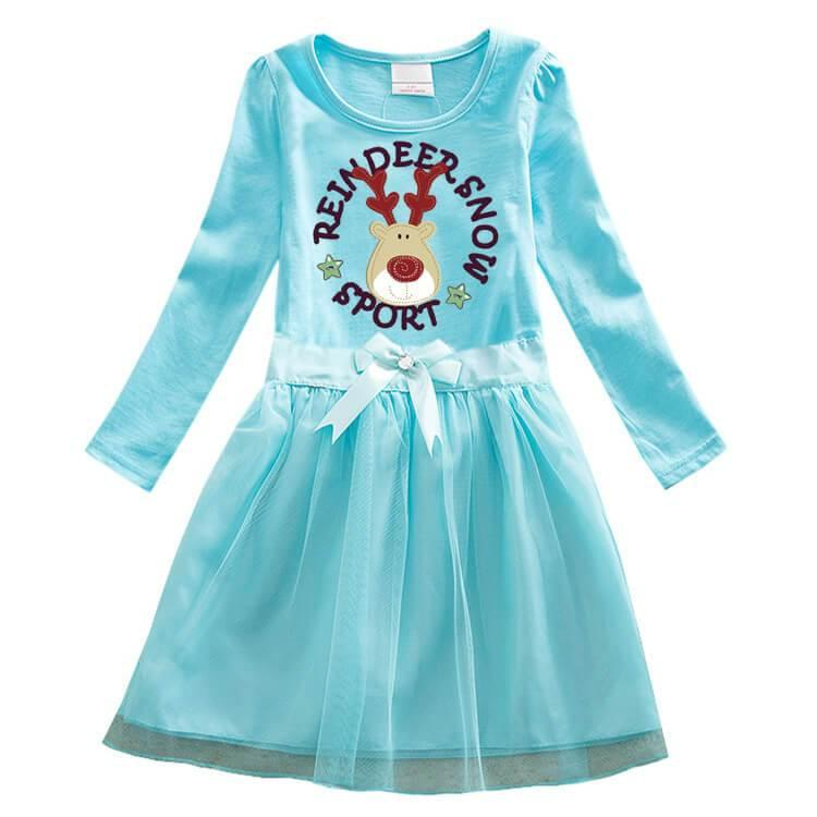 Reindeer Now Sport Print Girls Long Sleeve Cotton Tulle Bow Dress